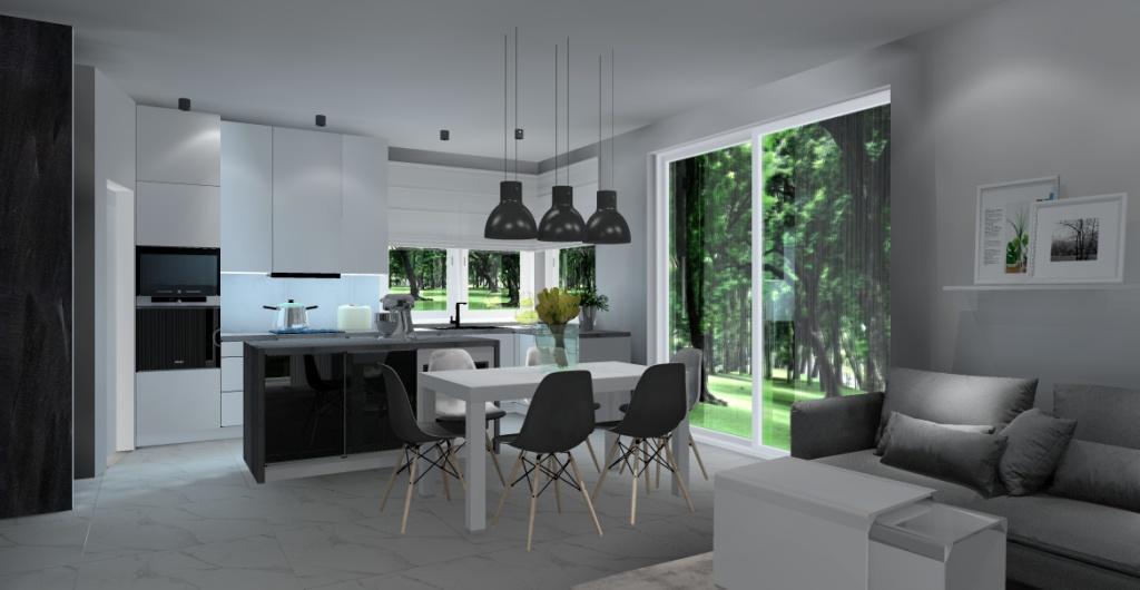 nowoczesny salon z kuchnią, beton, szary, biały, czarny, widok na kuchnię białą, szafki do sufitu, wyspa w kuchni