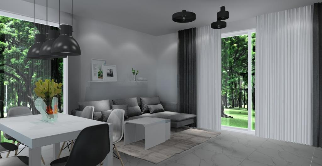 nowoczesny salon z kuchnią, beton, szary, biały, czarny, zdjęcie na sofę narożna szara, stół biały, styl nowoczesny