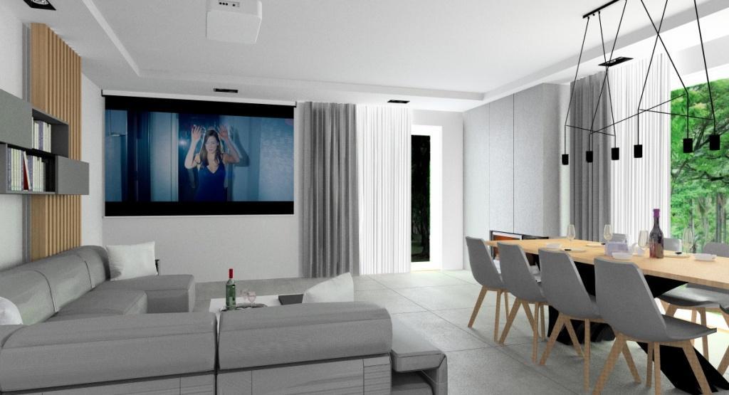Nowoczesny salon z kuchnią, widok na jadalnię i salon, sufit podwieszany, nowoczesne oświetlenie, projektor w salonie, stół w jadalni duży drewniany, wnętrze szare, białe