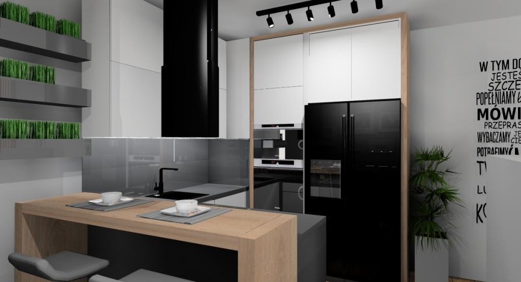 Nowoczesny salon z kuchnią , salon z aneksem kuchennym