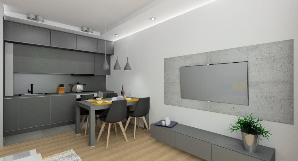 Nowoczesny salon z kuchnią, beton na ścianie w salonie, szara kuchnia do sufitu