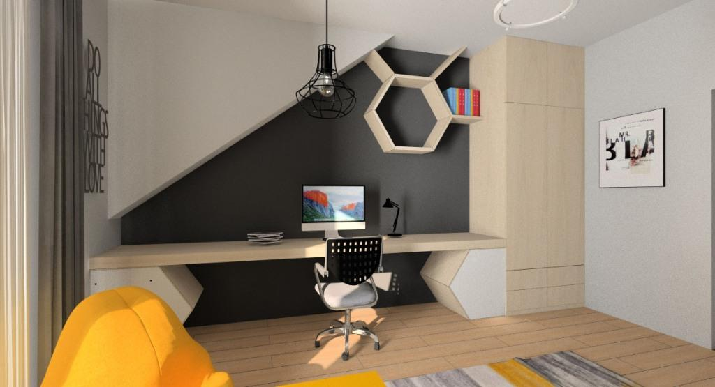 Pokój dla nastolatka, młodzieżowy, duże biurko, szafa, ściana farba tablicowa