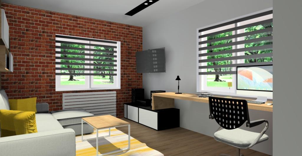 Pokój dla nastolatka – szary, czarny, cegła