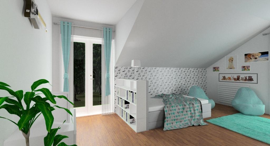 Pokój dla nastolatki – wnętrze na poddaszu, sosy, fototapeta, kolory miętowy, szary i biały, duże łóżko z zagłówkiem