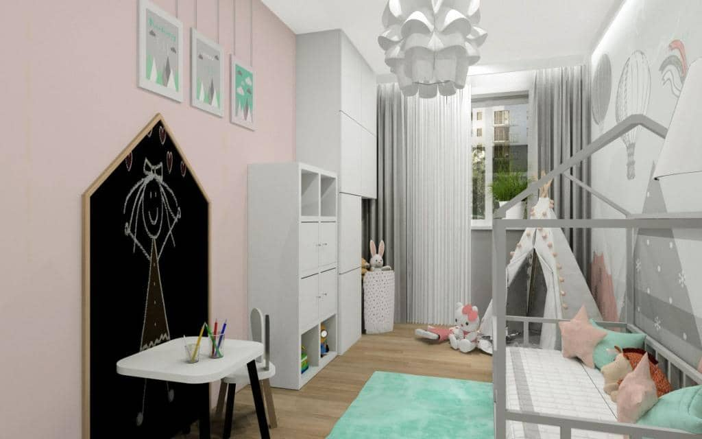 Pokój dla dziecka, dziewczynki, meble IKEA EKET, łózko domek, tapeta w baloniki różowa, miętowa, tablica do rysowania domek