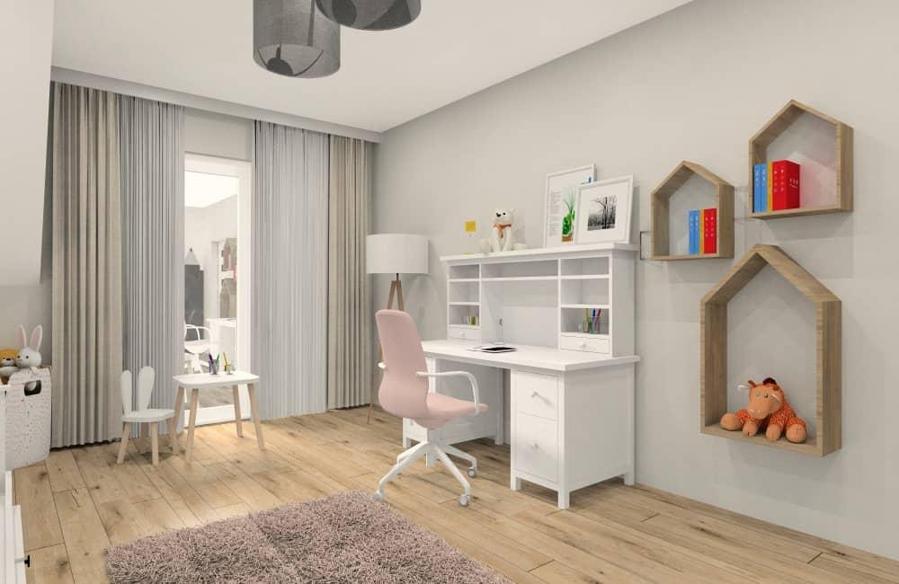Pokój dziewczynki, białe meble, biurko, półki domki, stoliczek do rysowania