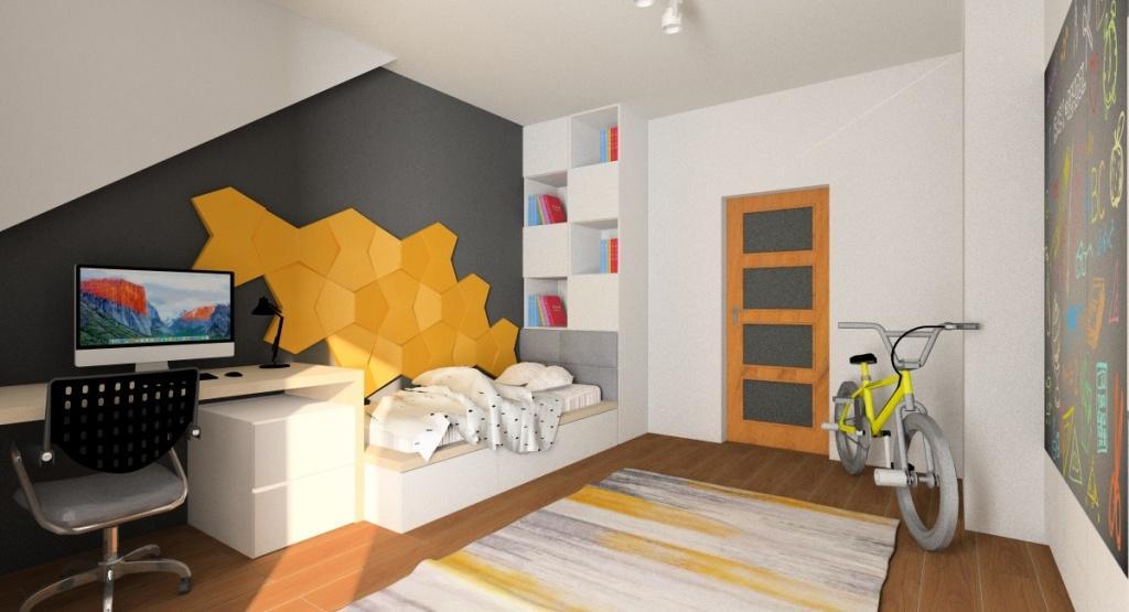 Pokój młodzieżowy dla chłopca, kolory ścian grafitowy i szary, panele 3d zółte