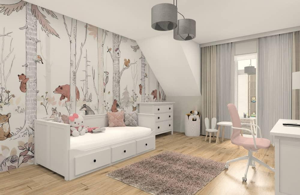 Pomysł na aranżacje pokoju dla dziewczynki. Ciepłe pastelowe kolory!