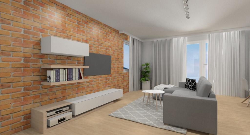 Pomysł na aranżacje ściany TV, cegła na ścianie, meblościanka biała