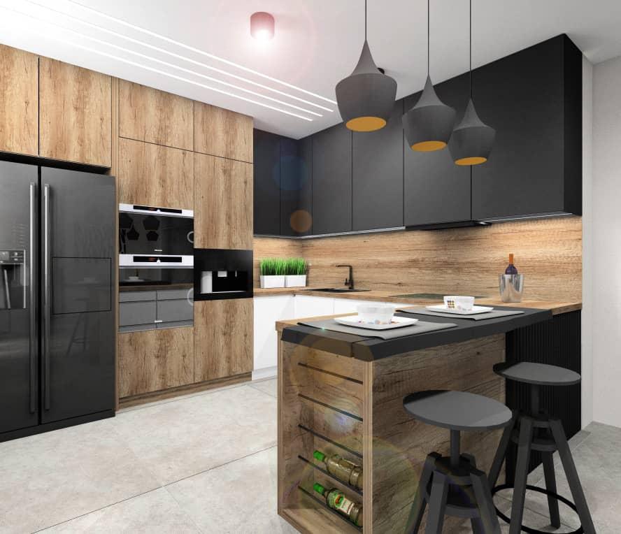 Pomysł na nowoczesną aranżacje wnętrza. Kuchnia z czarnymi frontami, drewniany blatem, drewnem na ścianie, barkiem