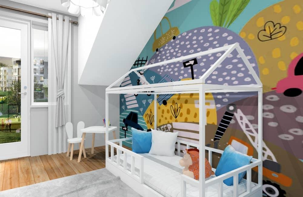 Pomysły na urządzenie pokoju dla dziecka, chłopca, łózko domek, tabica domek, namiot tipi, plakaty, obrazki miętowe, tapeta z samochodami, żółty, niebieski