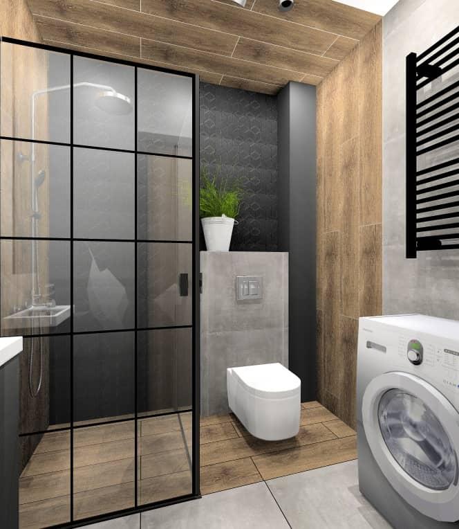 Projekt małego mieszkania 28 m2. Pomysł na aranżacje wnętrza łazienki