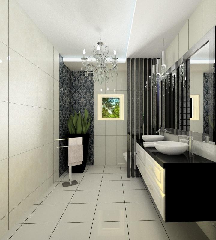 projekt łazienki glamour, zdjęcie łazienki w rezydencji