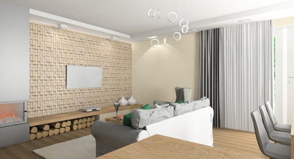 Projekty wnętrz, salony w ciepłych kolorach, średni salon, kominek, kamień dekoracyjny nowoczesny w beżu