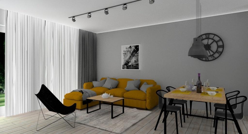 Salon industrialny, projekt wnętrza w kolorze biały, szary, czarny