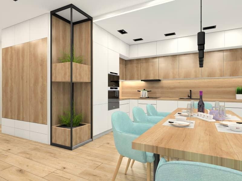 Salon z kuchnią i jadalnią: biały, drewno, mięta i czarny