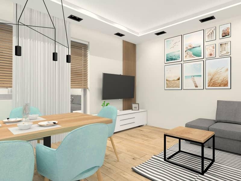 Salon, kuchnia, jadalnia, jasne, przytulne i ciepłe wnętrza