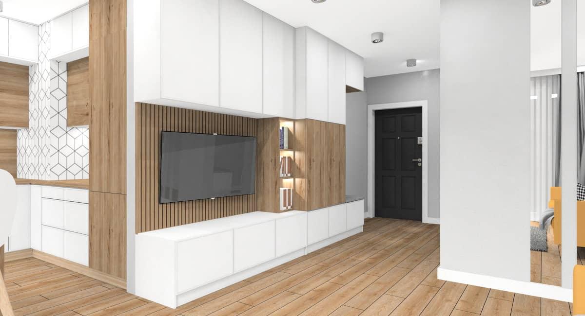 Salon. wnętrze w stylu skandynawski, mały salon z kuchnią i przedpokojem, zabudowa meblościanki w salonie połączona z szafą na przedpokoju