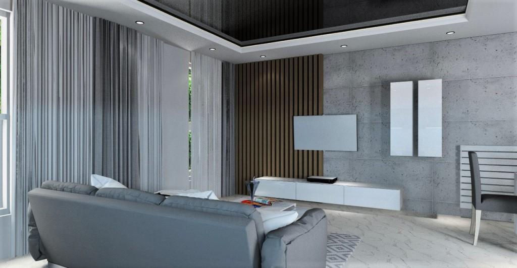 Salon w stylu nowoczesnym, beton na ścianie RTV, panele drewniane, aranżacja sufitu podwieszanego z ledami