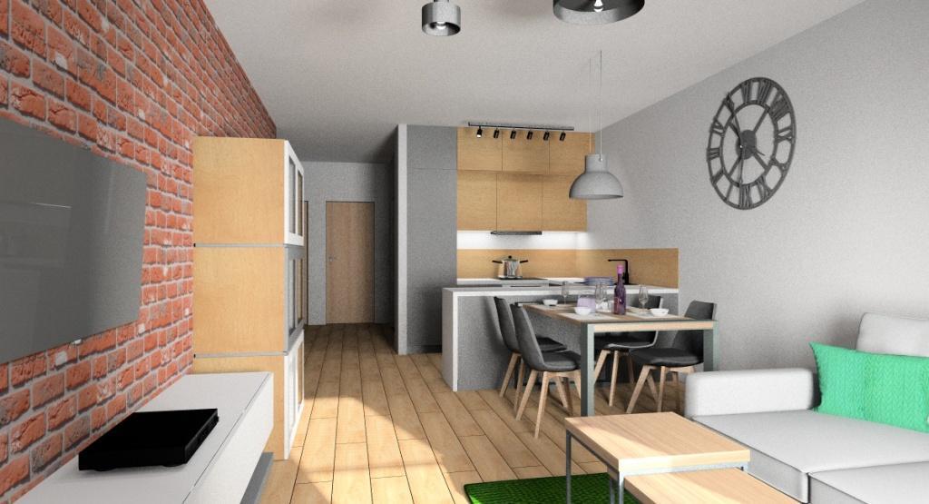 Salon z aneksem kuchennym, aranżacja w stylu industrialnym