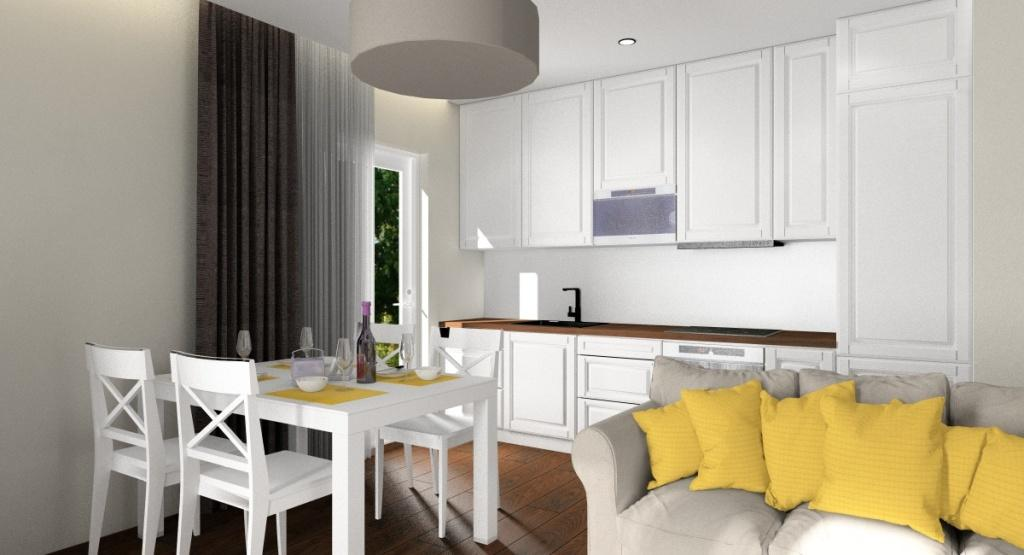 Projekt Wnętrza Małe Mieszkanie 40 M2 Salon Kuchnia Hol