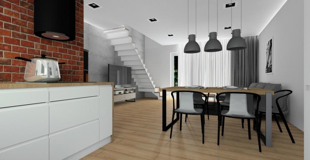 salon z kuchnia, cegła na ścianie w kuchni, oświetlenie nad stołem industrialne, biała kuchnia, wnętrze salonu ze schodami