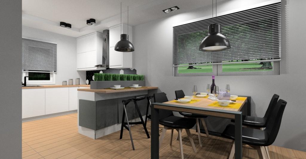 Salon z kuchnią aranżacja z panelami 3d
