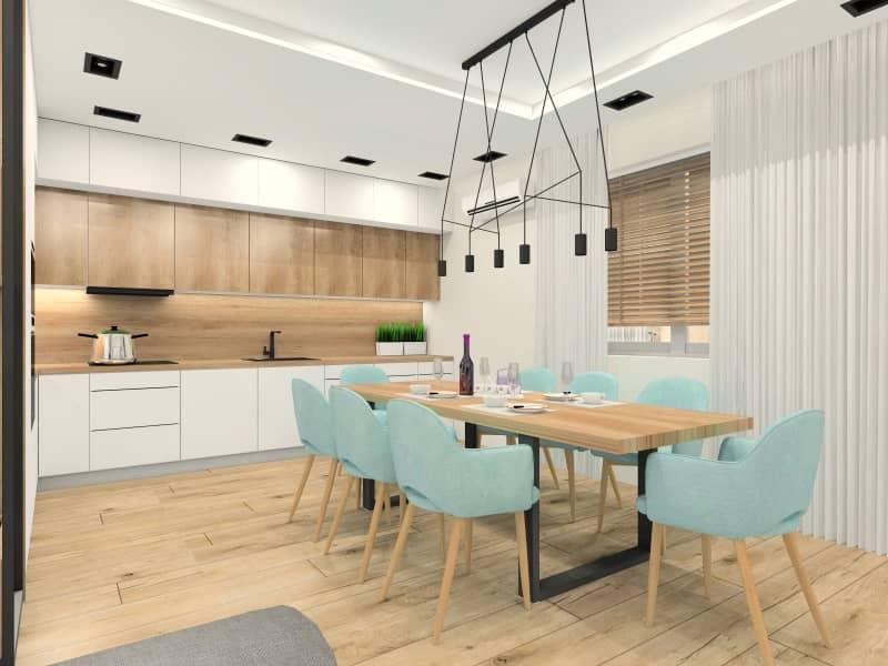 Salon z kuchnią i jadalnią 25m2. Nowoczesna aranżacja wnętrz