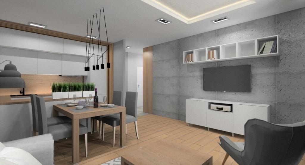 Salon z kuchnia aranżacja