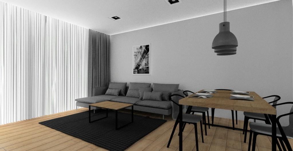 Salon z kuchnią w styl industrialnym, sufit podwieszany z oświetleniem , obraz nad sofą, stolik kawowy drewno