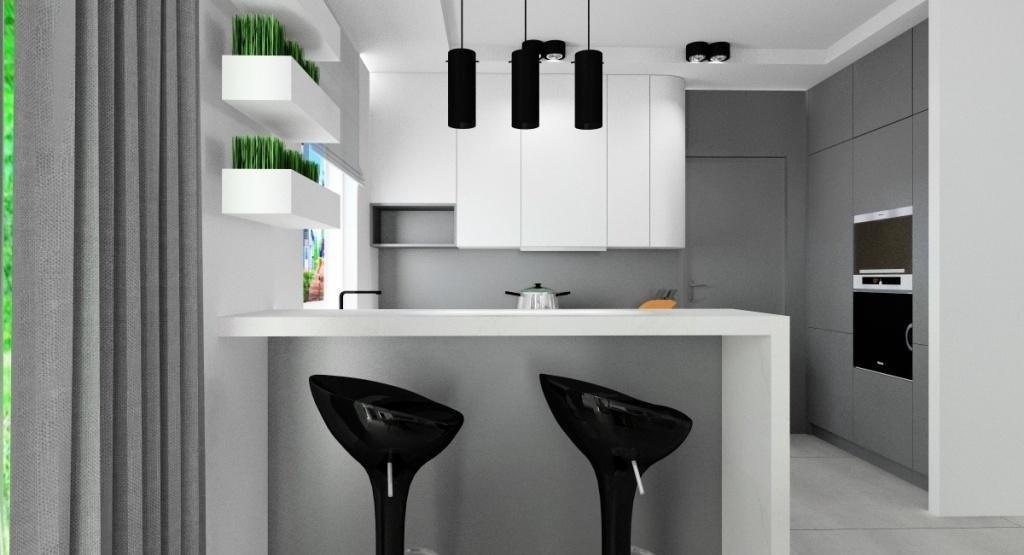 Salon z kuchnią wyspa w kuchni, szafki białe do sufitu, szare szafki dolne, hokery przy wyspie