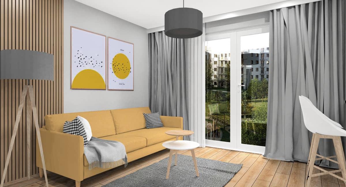Salon, nowoczesne wnętrze w stylu skandynawskim, żółta sofa, żółte obrazki, drewno na ścianie, czarna lampa, czarny dywan, stolik kawowy drewno, biały