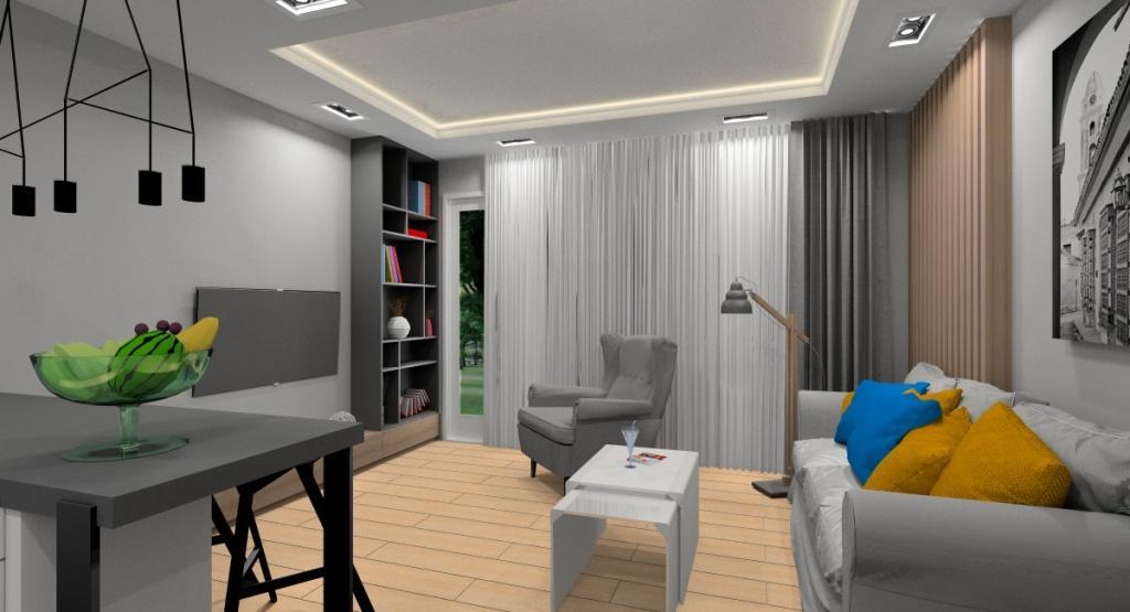 Salony, nowoczesne wnętrza, biały, szary drewno, sofa EVERTSBERG, fotel STRANDMON, regał na ścianie TV, panele drewniane na ścianie za sofą, sufit podwieszany podświetlony led