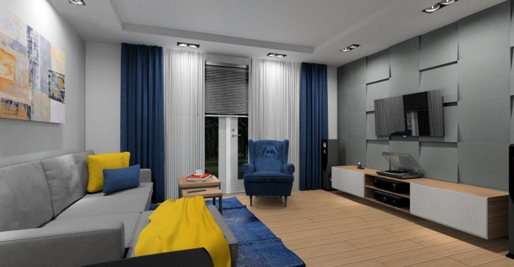 Salony, panele 3d na ścianie telewizyjnej, sofa narożna szara, małe pomieszczenie, dodatki niebieski królewski