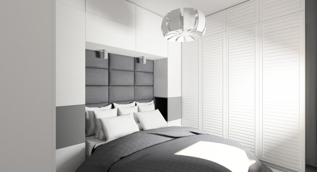 Sposób na mała sypialnię, zabudowa nad łóżkiem, meble do sufitu, drzwi ażurowe w szafie
