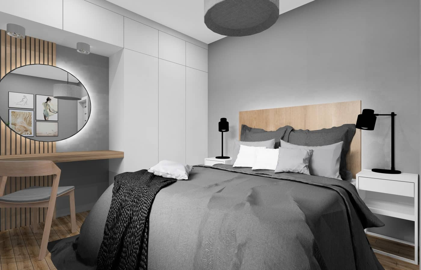 Sypialnia urządzona w stylu skandynawskim , toaleta, lustro okrągłe podświetlane, panele drewnia, łózko drewniane, szare ściany, szafa biała z płyt laminowanej