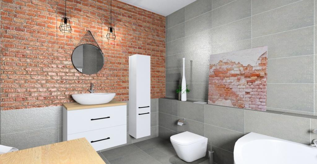Urządzanie łazienki w stylu industrialnym: szary, cegła, drewno