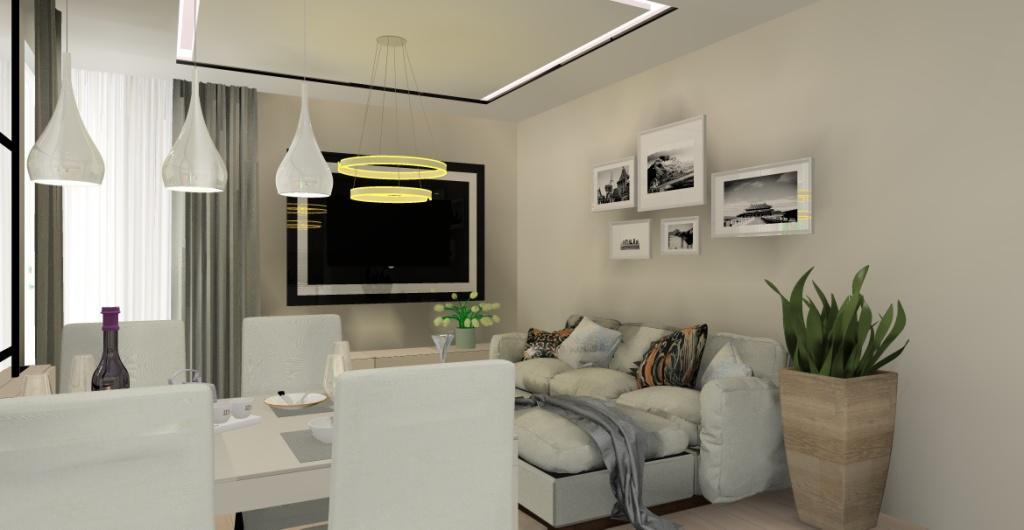 Urządzamy salon połączony z kuchnią, salon z nowoczesny sufitem podwieszanym, czarna ściana TV