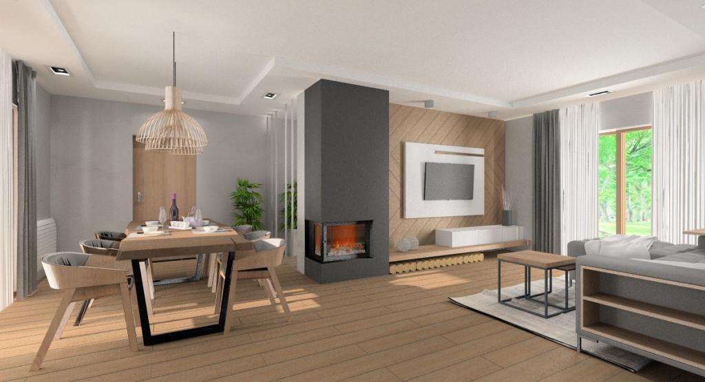 Wnętrza w stylu nowoczesnym: Salon i jadalnia