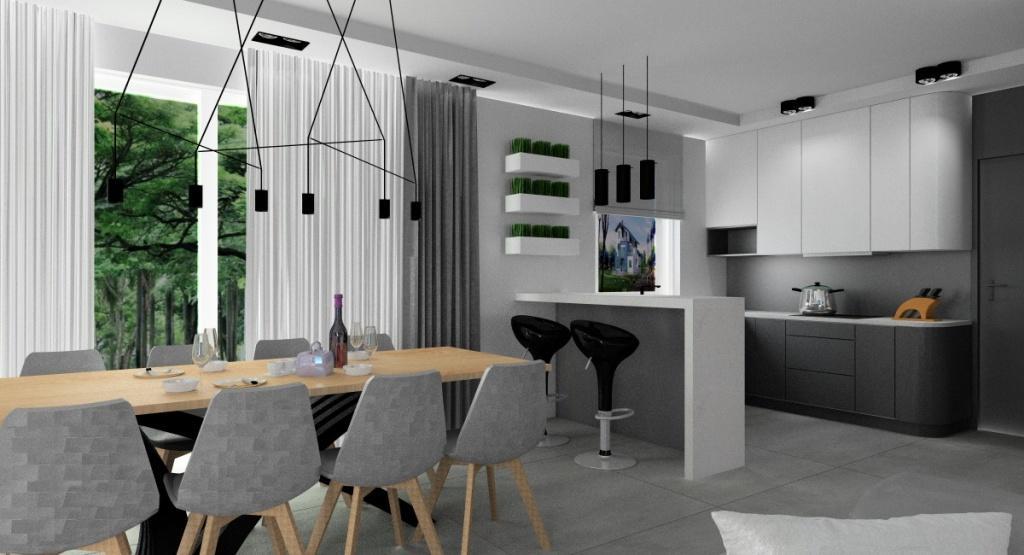 Wnętrza w stylu nowoczesnym. Salon z kuchnią, aneks kuchenny w salonie.