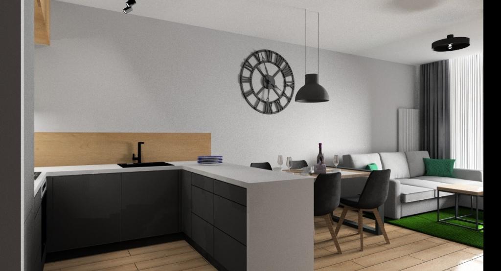Wnętrze industrialne: salon z aneksem kuchennym