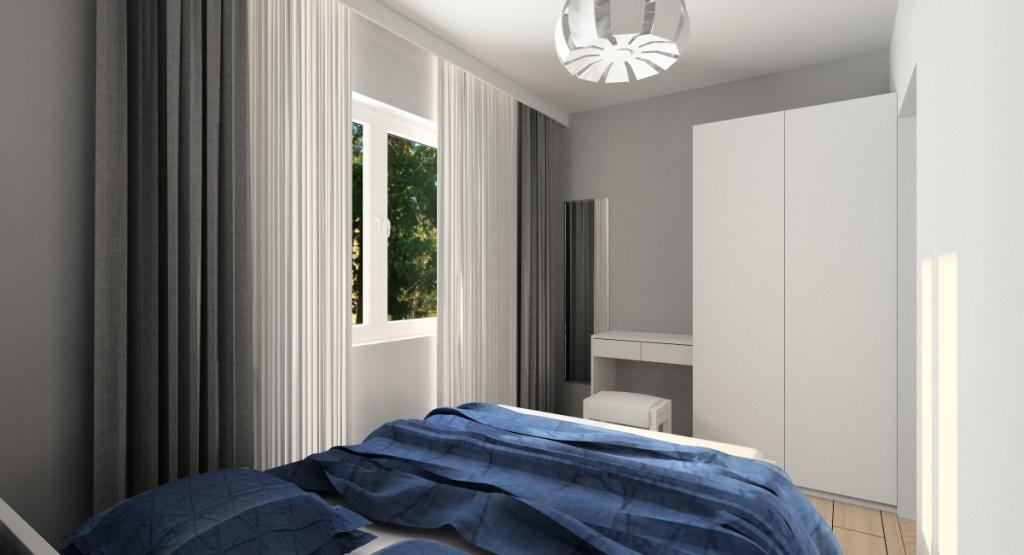 Wystrój małego mieszkania, sypialnia
