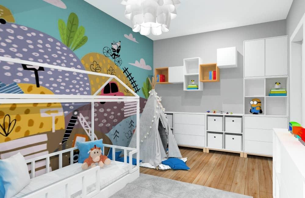 Wystrój pokoju dla dziecka, chłopca, wystroj nowoczesny, nowoczesna bajkowa fototapeta z samochodami łózko domek, dodatki w formie obrazków , poduszki, meble IKEA Eket