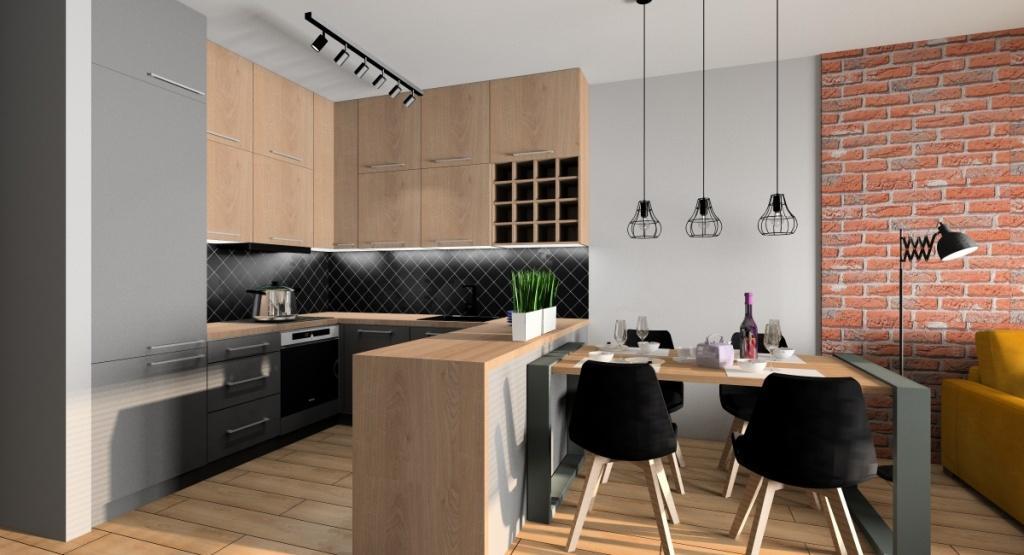 zagospodarowanie przestrzeni małego mieszkania, zabudowane w kuchni pod sam sufit