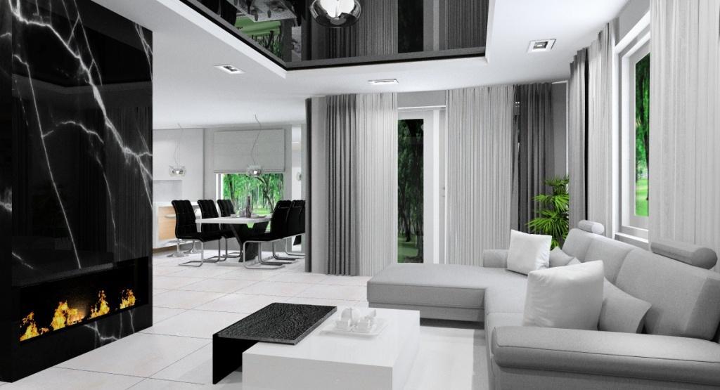 Zdjęcia salonu z kuchnią i jadalnią, nowoczesne wnętrze biały szary czarny, nowoczesny w kamieniu czarnym biokominek , sufit podwieszany napinany czarny, biały stół na jednej nodze, czarne krzesła