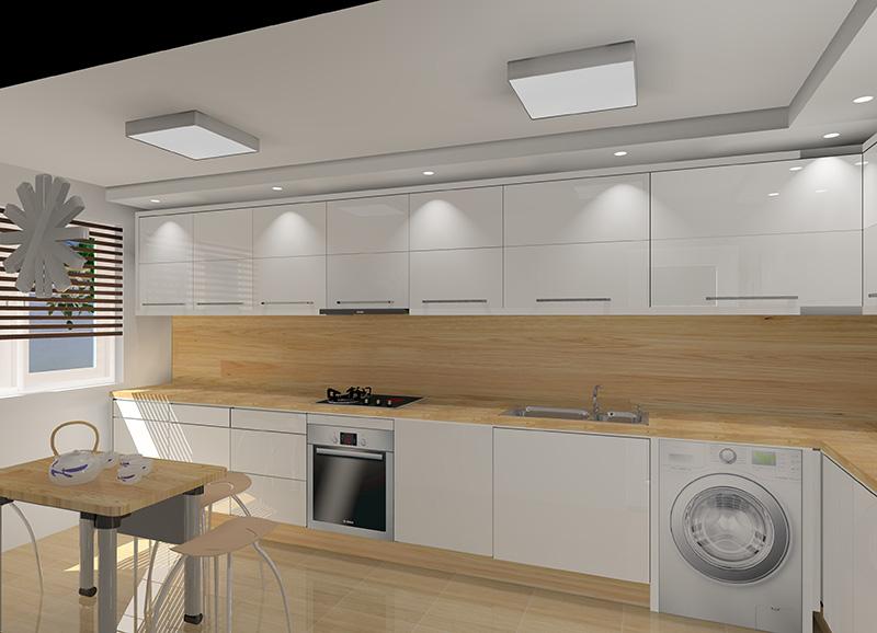 Biała kuchnia połączona z drewnem -> Kuchnia Bialo Czarno Drewniana