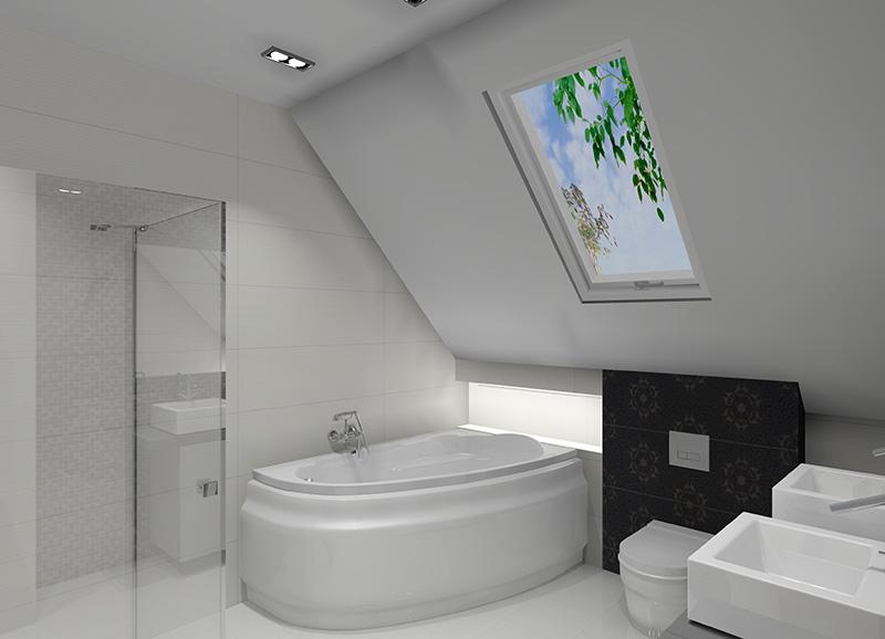 Biało Czarna łazienka Efektowna Aranżacja łazienki Na Poddaszu