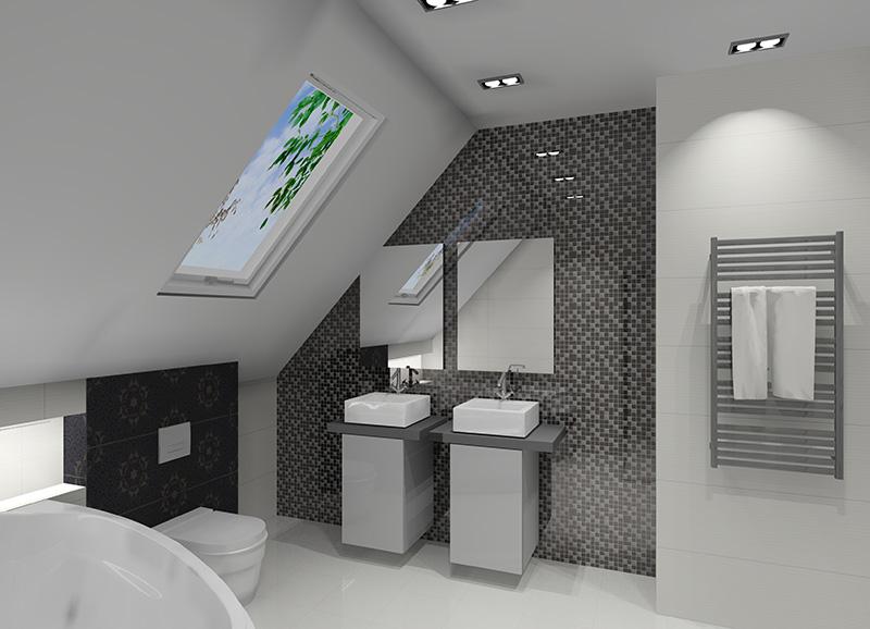 Biało-czarna łazienka: Efektowna aranżacja łazienki na poddaszu