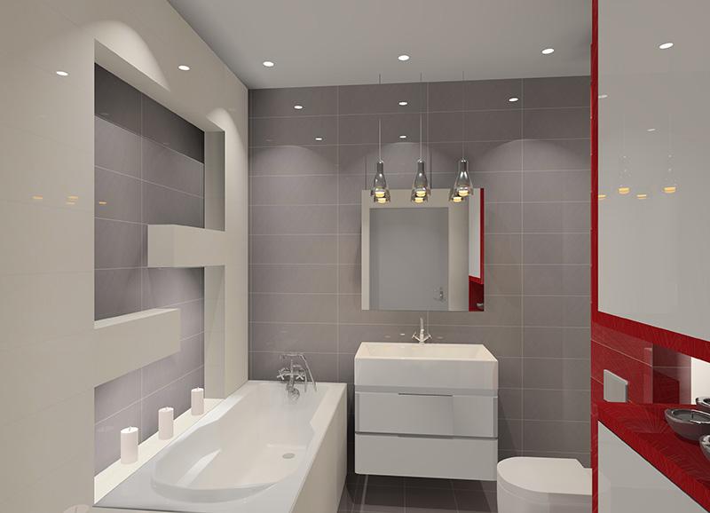 łazienka Biało Szaro Czerwona