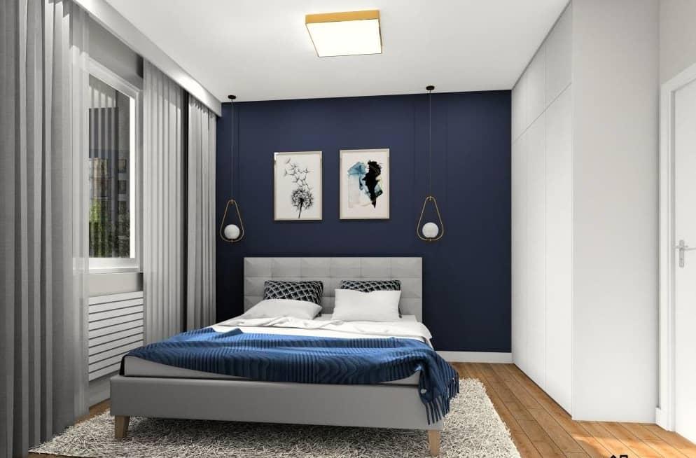 Granatowa sypialnia. Piękne aranżacje wnętrz